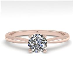 0.50 CTW VS/SI Diamond Engagement Designer Ring 18K Rose Gold - REF-107V3Y - 32381