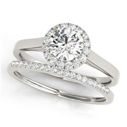 0.89 CTW Certified VS/SI Diamond 2Pc Wedding Set Solitaire Halo 14K White Gold - REF-135M6F - 30984