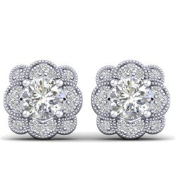 1.50 CTW Certified VS/SI Diamond Art Deco Stud Earrings 14K White Gold - REF-196R2K - 30513