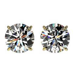 2 CTW Certified H-SI/I Quality Diamond Solitaire Stud Earrings 10K Yellow Gold - REF-285R2K - 33082
