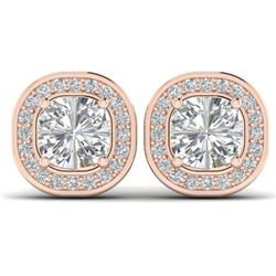 2 CTW Cushion Cut Certified VS/SI Diamond Art Deco Stud Earrings 14K Rose Gold - REF-390F2N - 30337