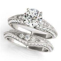 1.51 CTW Certified VS/SI Diamond Solitaire 2Pc Wedding Set Antique 14K White Gold - REF-178F2N - 314