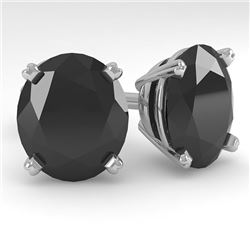 18.0 CTW Oval Black Diamond Stud Designer Earrings 14K White Gold - REF-364H5M - 38401