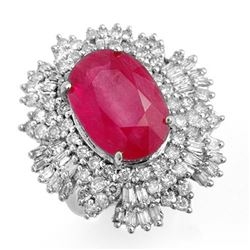 12.16 CTW Ruby & Diamond Ring 18K White Gold - REF-441W6H - 12967