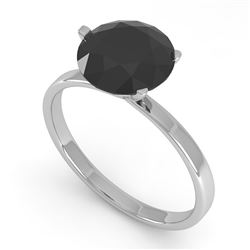 2.0 CTW Black Certified Diamond Engagement Ring Martini 14K White Gold - REF-49Y3X - 38341