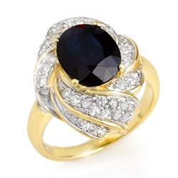 3.85 CTW Blue Sapphire & Diamond Ring 14K Yellow Gold - REF-74H4M - 13086