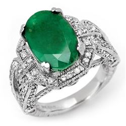 8.50 CTW Emerald & Diamond Ring 14K White Gold - REF-155F3N - 11900