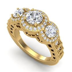 2.16 CTW VS/SI Diamond Solitaire Art Deco 3 Stone Ring 18K Yellow Gold - REF-361K8W - 36970