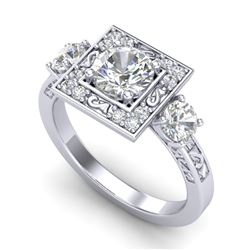 1.55 CTW VS/SI Diamond Solitaire Art Deco 3 Stone Ring 18K White Gold - REF-272A7V - 37274