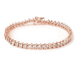 1.0 CTW Certified VS/SI Diamond Bracelet 18K Rose Gold - REF-126H5M - 13273