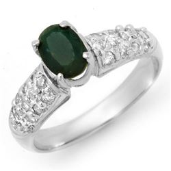 1.50 CTW Emerald & Diamond Ring 18K White Gold - REF-65N3A - 13264