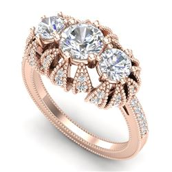 2.26 CTW VS/SI Diamond Art Deco Micro Pave 3 Stone Ring 18K Rose Gold - REF-345A5V - 37002