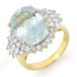 9.25 CTW Aquamarine & Diamond Ring 14K Yellow Gold - REF-183K6W - 14514