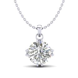 1 CTW VS/SI Diamond Solitaire Art Deco Stud Necklace 18K White Gold - REF-294W2H - 36914