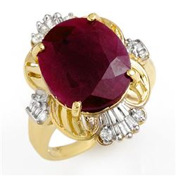 6.70 CTW Ruby & Diamond Ring 10K Yellow Gold - REF-89H3M - 12724