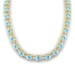 37.5 CTW Aquamarine & VS/SI Certified Diamond Eternity Necklace 10K Yellow Gold - REF-425A5V - 29418