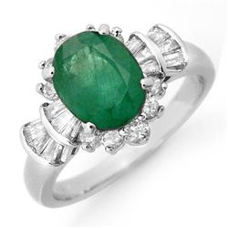2.01 CTW Emerald & Diamond Ring 18K White Gold - REF-96A4V - 13325