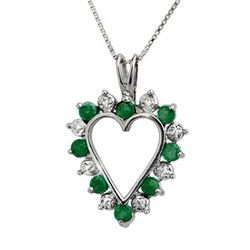 0.80 CTW Emerald & Diamond Pendant 18K White Gold - REF-40M2F - 12671
