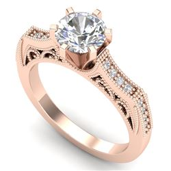 1.25 CTW VS/SI Diamond Solitaire Art Deco Ring 18K Rose Gold - REF-400N2A - 37074