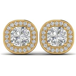 2 CTW Cushion Cut Certified VS/SI Diamond Art Deco Stud Earrings 14K Yellow Gold - REF-390K2W - 3033