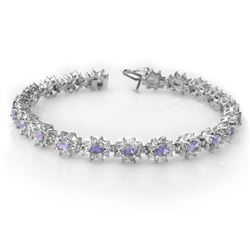 10.0 CTW Tanzanite & Diamond Bracelet 18K White Gold - REF-393V3Y - 14446