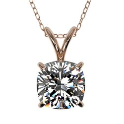 1 CTW Certified VS/SI Quality Cushion Cut Diamond Necklace 10K Rose Gold - REF-267W7H - 33199