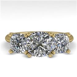 2.0 CTW Cushion Cut VS/SI Diamond 3 Stone Designer Ring 18K Yellow Gold - REF-447A2V - 32476