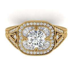 1.95 CTW Certified VS/SI Diamond Art Deco Micro Ring 14K Yellow Gold - REF-421X6R - 30506