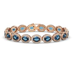 24.32 CTW London Topaz & Diamond Bracelet Rose Gold 10K Rose Gold - REF-256W7H - 40638