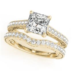 1.15 CTW Certified VS/SI Princess Diamond Solitaire 2Pc Set 14K Yellow Gold - REF-158H5M - 31753
