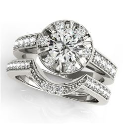 2.35 CTW Certified VS/SI Diamond 2Pc Wedding Set Solitaire Halo 14K White Gold - REF-488N7A - 31292