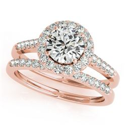 0.96 CTW Certified VS/SI Diamond 2Pc Wedding Set Solitaire Halo 14K Rose Gold - REF-140Y2X - 30784