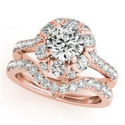 2.22 CTW Certified VS/SI Diamond 2Pc Wedding Set Solitaire Halo 14K Rose Gold - REF-268X2R - 31068
