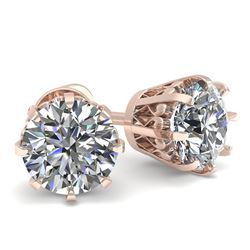 1.0 CTW VS/SI Diamond Stud Solitaire Earrings 18K Rose Gold - REF-178W2H - 35663