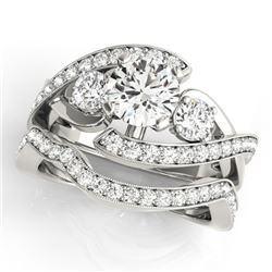 2.04 CTW Certified VS/SI Diamond Bypass Solitaire 2Pc Wedding Set 14K White Gold - REF-448F2N - 3177