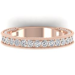 1.25 CTW VS/SI Diamond Art Deco Eternity Band Ring 14K Rose Gold - REF-96M4F - 30322