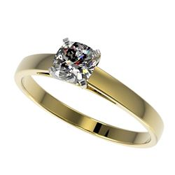 0.50 CTW Certified VS/SI Quality Cushion Cut Diamond Solitaire Ring 10K Yellow Gold - REF-64X3R - 32