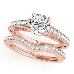 1.61 CTW Certified VS/SI Diamond Solitaire 2Pc Wedding Set 14K Rose Gold - REF-389M5F - 31761