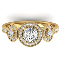1.25 CTW Certified VS/SI Diamond Art Deco 3 Stone Micro Halo Ring 14K Yellow Gold - REF-134W5H - 303
