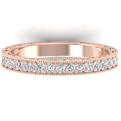 1 CTW Certified VS/SI Diamond Art Deco Eternity Band 14K Rose Gold - REF-78W2H - 30271