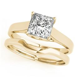 0.75 CTW Certified VS/SI Princess Diamond Solitaire Wedding 14K Yellow Gold - REF-204A5V - 32104