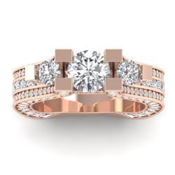 5.5 CTW Certified VS/SI Diamond Art Deco 3 Stone Micro Ring 14K Rose Gold - REF-638V9Y - 30295
