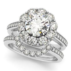 1.90 CTW Certified VS/SI Diamond 2Pc Wedding Set Solitaire Halo 14K White Gold - REF-248H9M - 30630