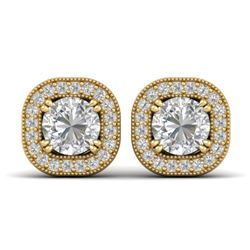 1.35 CTW Certified VS/SI Diamond Stud Micro Halo Earrings 14K Yellow Gold - REF-177H3M - 30434