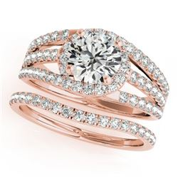 1.40 CTW Certified VS/SI Diamond Solitaire 2Pc Wedding Set 14K Rose Gold - REF-226M4F - 32010