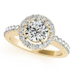 0.76 CTW Certified VS/SI Diamond Solitaire Halo Ring 18K Yellow Gold - REF-128W7H - 26328