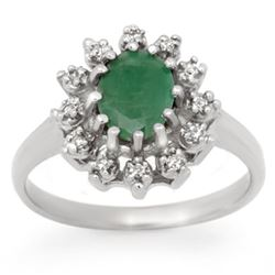 1.46 CTW Emerald & Diamond Ring 18K White Gold - REF-43Y3X - 12440