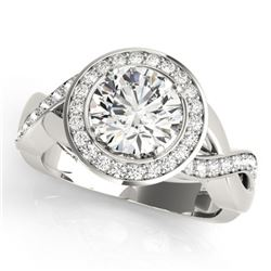 1.50 CTW Certified VS/SI Diamond Solitaire Halo Ring 18K White Gold - REF-243R5K - 26170