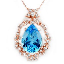 13.84 CTW Blue Topaz & Diamond Necklace 14K Rose Gold - REF-109X6R - 10083