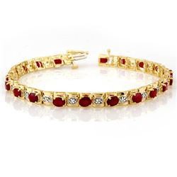6.09 CTW Ruby & Diamond Bracelet 10K Yellow Gold - REF-94F5N - 10590